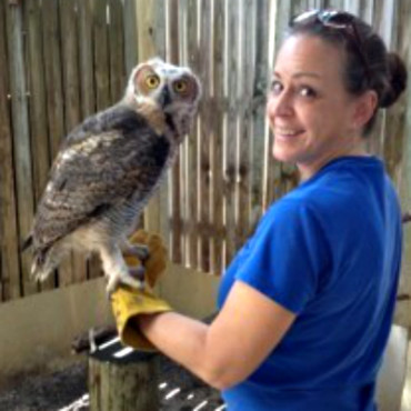 Callie Stahl with the Bella the Great Horned owl 2