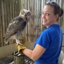 Callie Stahl with Bella the Great Horned owl