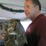 John Hime with Annie the Great Horned Owl